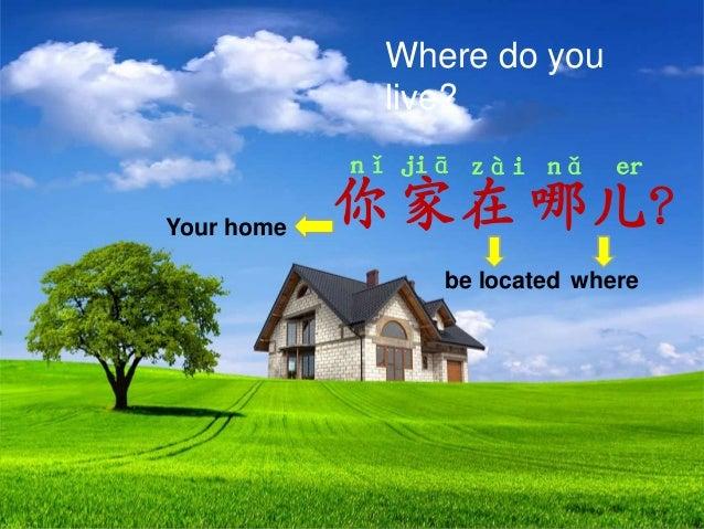 Where do you live? nǐ jiā zài nǎ er  Your home  你 家 在 哪儿? be located where