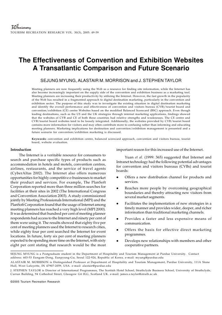 TOURISM RECREATION RESEARCH VOL. 30(3), 2005: 49-59          The Effectiveness of Convention and Exhibition Websites      ...