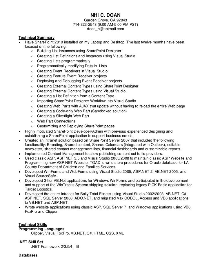 My updated resume for Sharepoint sample resume developers