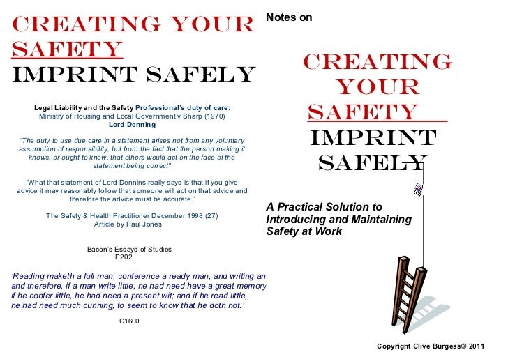 Creating YOUR                                                                Notes onSAFETY                               ...