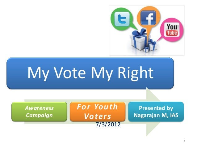 My Vote My RightAwareness   For Youth       Presented byCampaign     Voters        Nagarajan M, IAS                7/3/201...