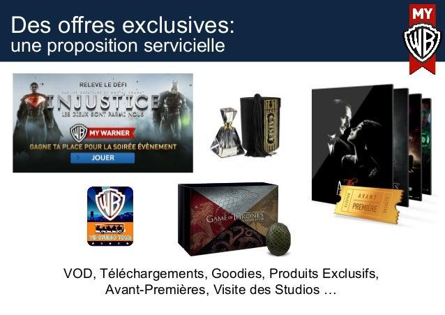 Des offres exclusives:une proposition servicielleVOD, Téléchargements, Goodies, Produits Exclusifs,Avant-Premières, Visite...