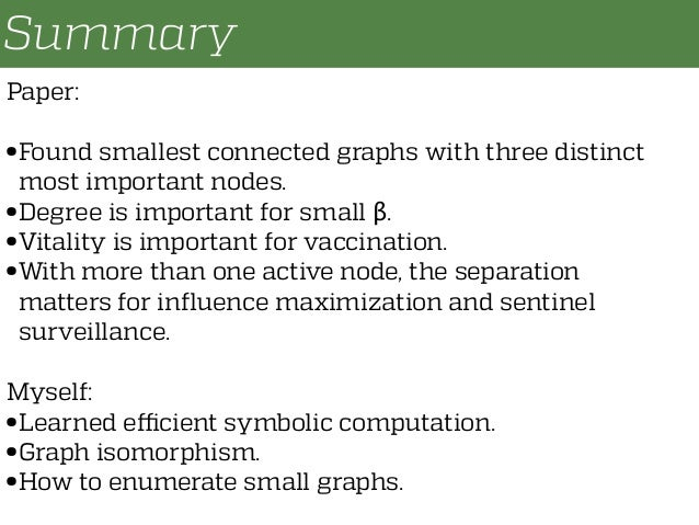 Summary Paper: • Found smallest connected graphs with three distinct most important nodes. • Degree is important for small...