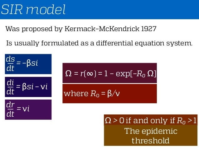 SIR model Was proposed by Kermack–McKendrick 1927 Is usually formulated as a differential equation system. ds dt = –βsi— d...