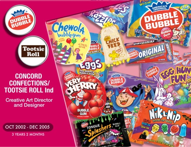 """, 4: """"I   ootsie I  Roll   CONCORD CONFECTIONSI TOOTSIE ROLL Ind  Creative Art Director and Designer               OCT 200..."""