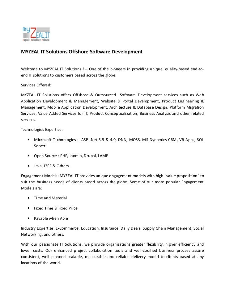 MYZEAL IT Solutions Offshore Software DevelopmentWelcome to MYZEAL IT Solutions ! – One of the pioneers in providing uniqu...