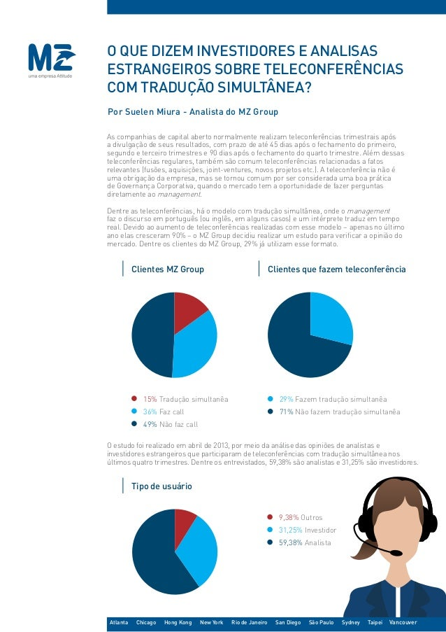 Por Suelen Miura - Analista do MZ Group O que dizem investidores e analisas estrangeiros sobre teleconferências com traduç...