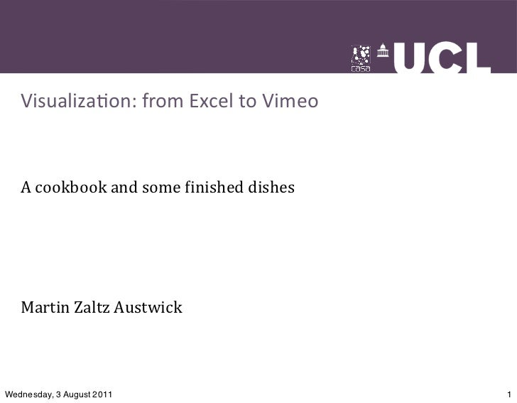 Visualiza(on:	  from	  Excel	  to	  Vimeo   A	  cookbook	  and	  some	  -inished	  dishes   Martin	  Zaltz	  AustwickWedne...