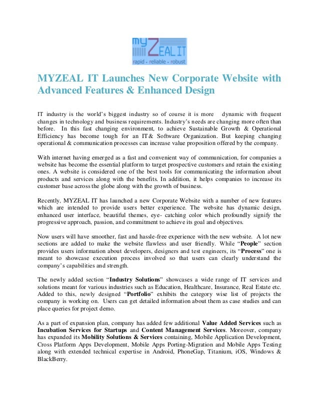 MYZEAL IT Launches New Corporate Website withAdvanced Features & Enhanced DesignIT industry is the world's biggest industr...