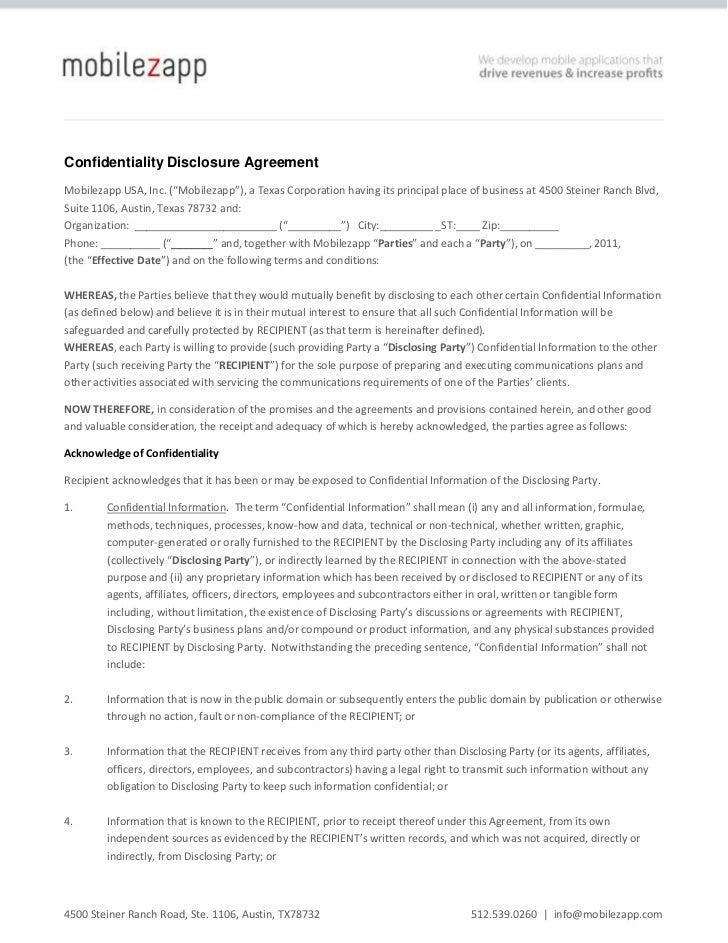 """Confidentiality Disclosure Agreement<br />Mobilezapp USA, Inc. (""""Mobilezapp""""), a Texas Corporation having its principal pl..."""