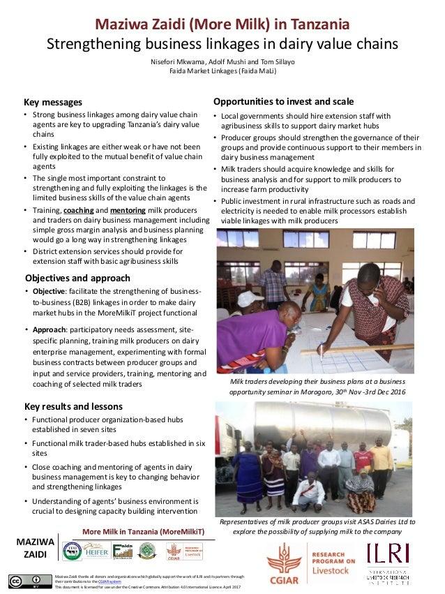 Maziwa Zaidi (More Milk) in Tanzania Strengthening business linkages in dairy value chains Nisefori Mkwama, Adolf Mushi an...
