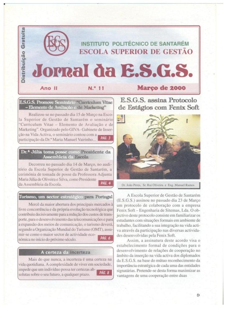 N.º 11 jornal da e.s.g.s   março de 2000 ano ii