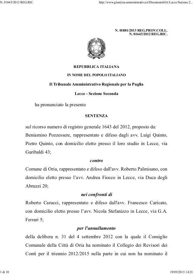 N. 01881/2013 REG.PROV.COLL. N. 01643/2012 REG.RIC. REPUBBLICA ITALIANA IN NOME DEL POPOLO ITALIANO Il Tribunale Amministr...