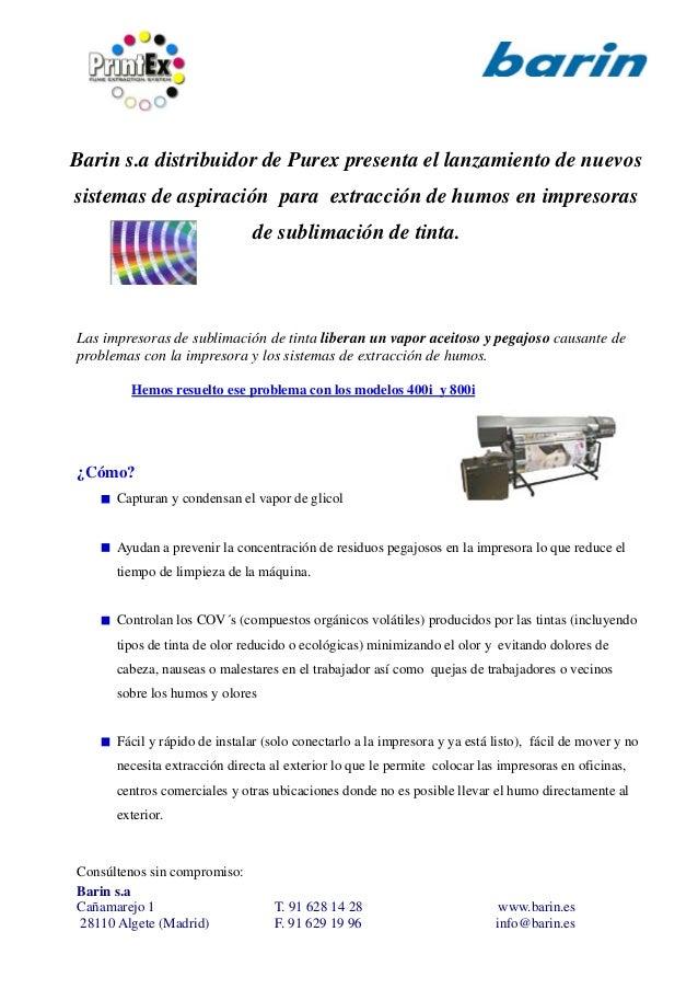 Barin s.a distribuidor de Purex presenta el lanzamiento de nuevos sistemas de aspiración para extracción de humos en impre...