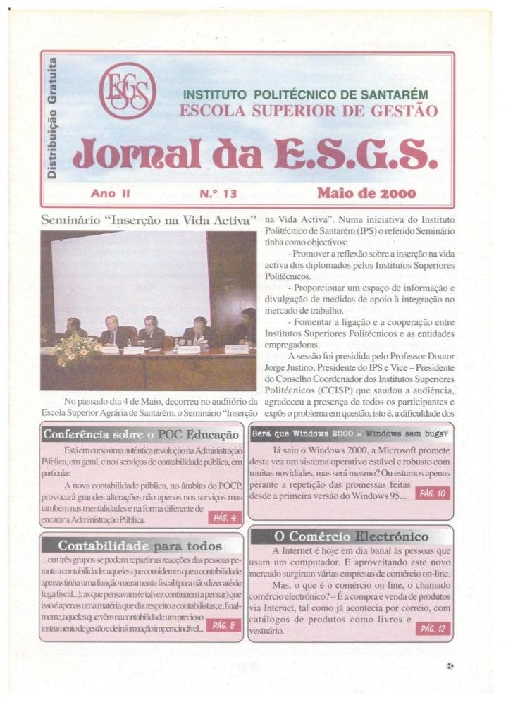 N.º 13 jornal da e.s.g.s   maio de 2000 ano ii