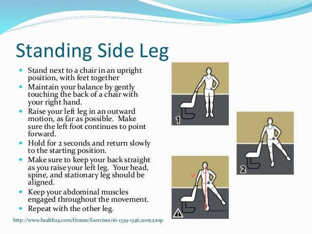 Standing Side Leg  Stand next to a chair in an upright position, with feet together  Maintain your balance by gently tou...