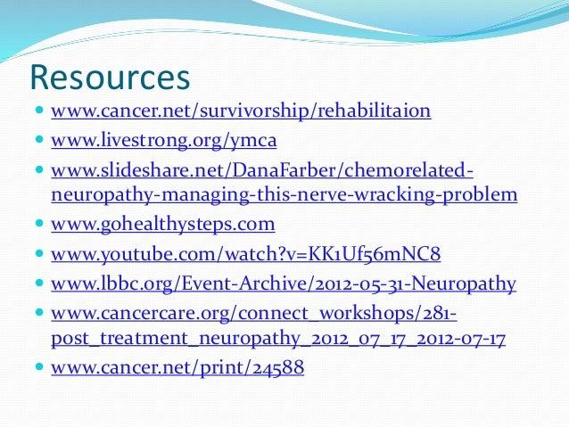 Resources  www.cancer.net/survivorship/rehabilitaion  www.livestrong.org/ymca  www.slideshare.net/DanaFarber/chemorelat...