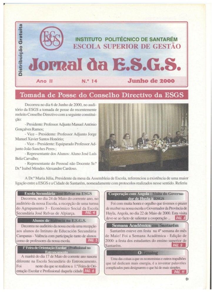 N.º 14 jornal da e.s.g.s   junho de 2000 ano ii