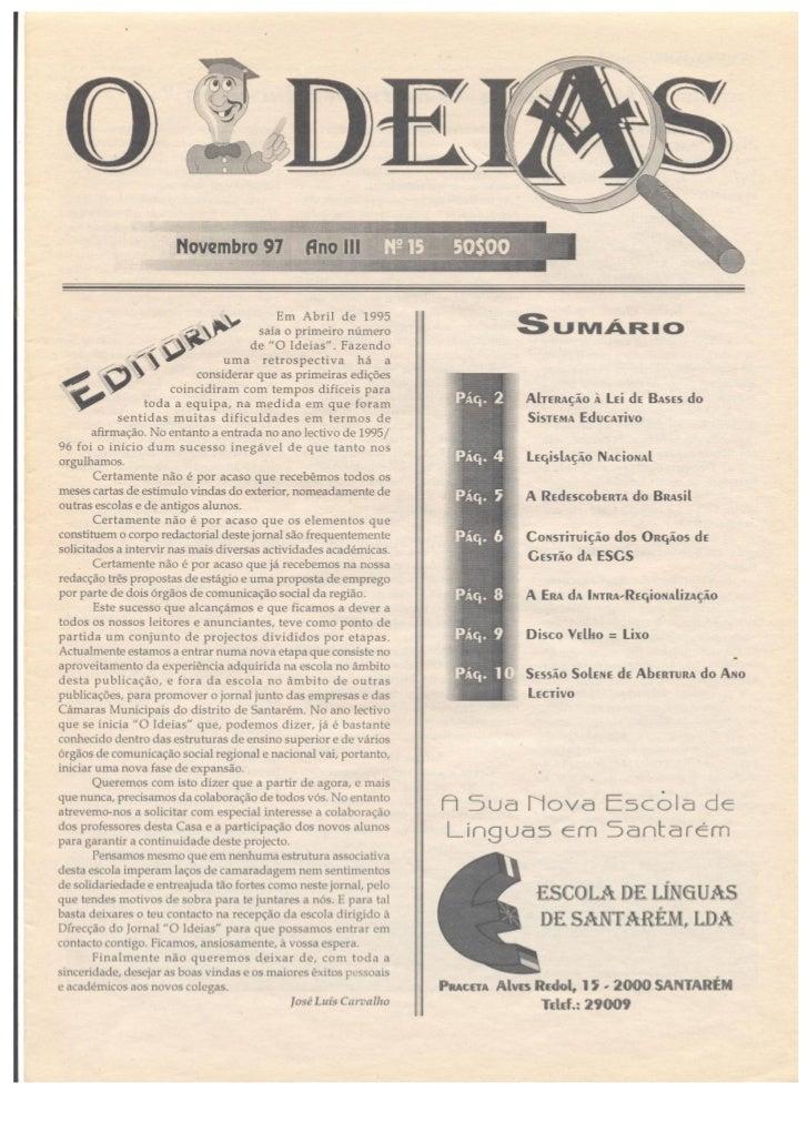 N.º 15 o ideias   novembro de 97 ano iii