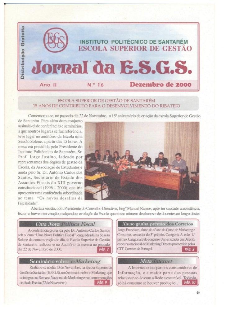 N.º 16 jornal da e.s.g.s   desembro de 2000 ano ii