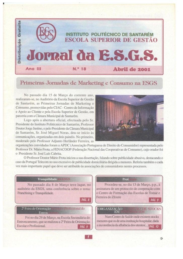 N.º 18 jornal da e.s.g.s   abril de 2001 ano iii