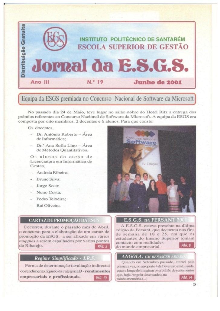 N.º 19 jornal da e.s.g.s   junho de 2001 ano iii