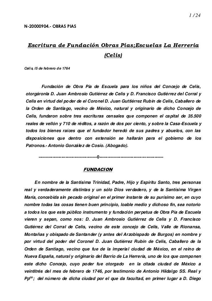 1 / 24N-20000904.- OBRAS PIAS  Escritura de Fundación Obras Pias;Escuelas La Herreria                                     ...