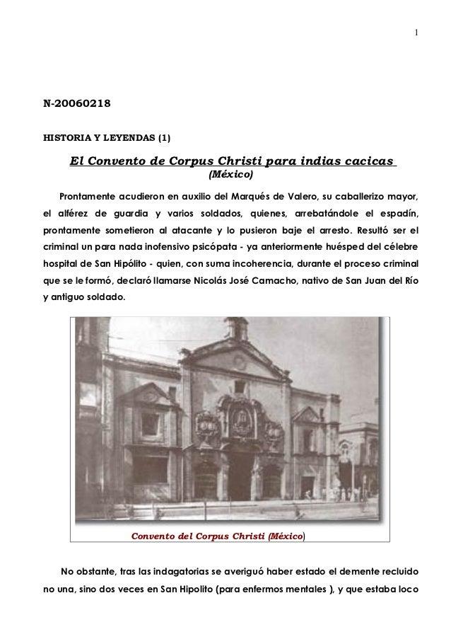 1N-20060218HISTORIA Y LEYENDAS (1)     El Convento de Corpus Christi para indias cacicas                                  ...