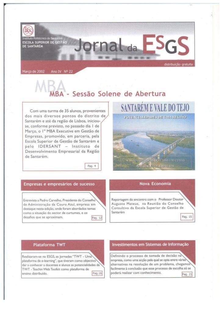 N.º 22 jornal da e.s.g.s   março de 2002 ano iv
