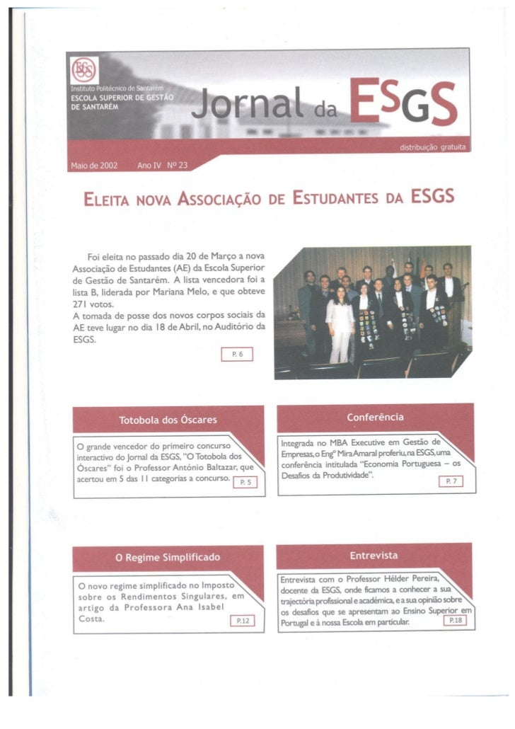 N.º 23 jornal da e.s.g.s   maio de 2002 ano iv