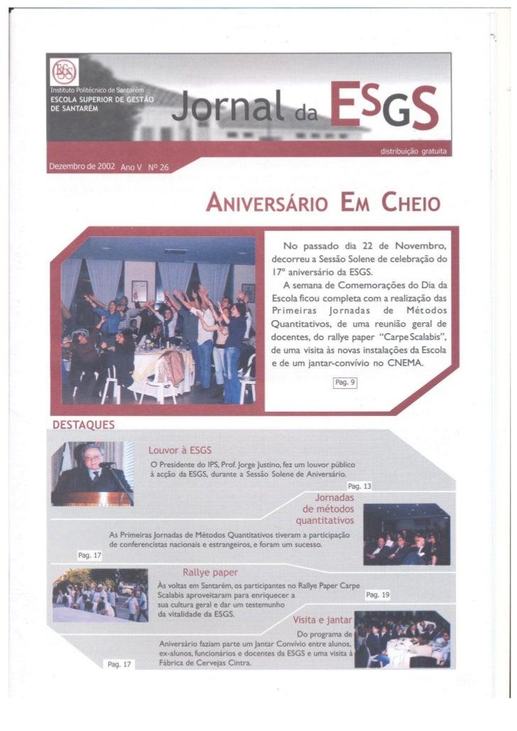 N.º 26 jornal da e.s.g.s   dezembro de 2002 ano v