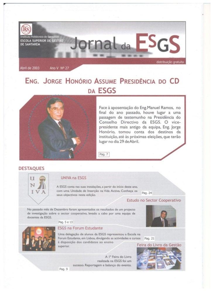 N.º 27 jornal da e.s.g.s   abril de 2003 ano v