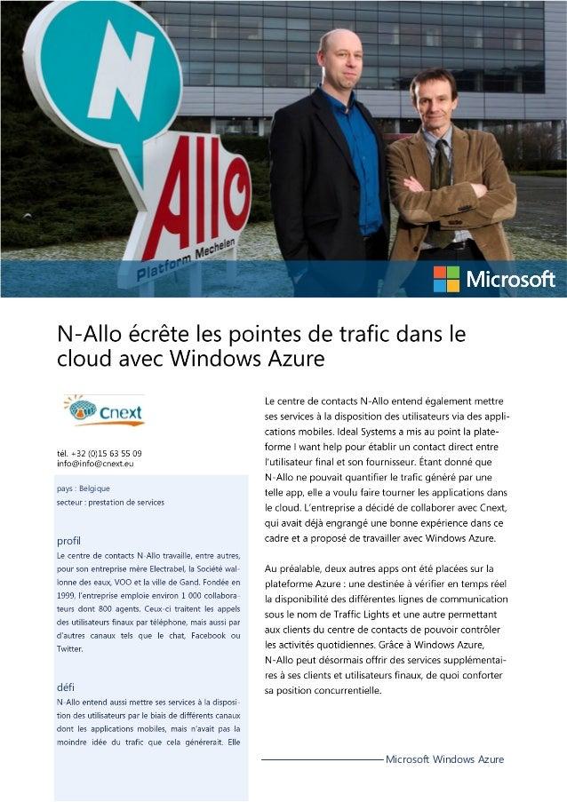 pays : Belgique  profil  défi  Microsoft Windows Azure