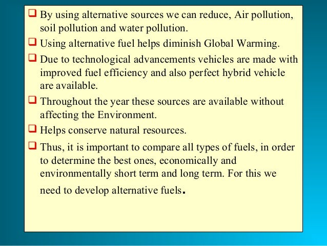 Alternative fuels for automobiles research paper