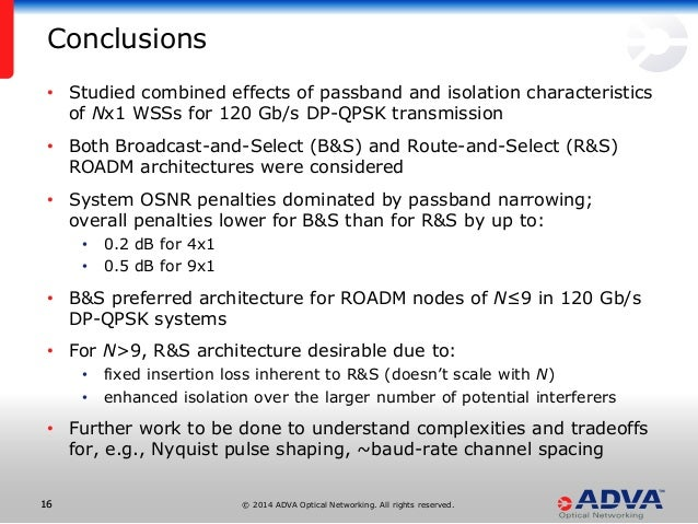 © 2014 ADVA Optical Networking. All rights reserved.1616 • Studied combined effects of passband and isolation characterist...