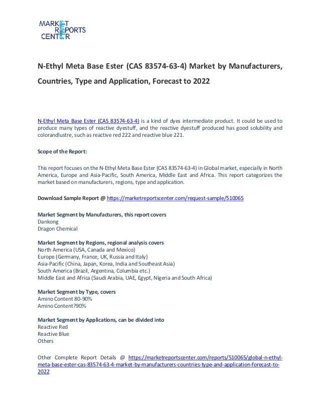 N ethyl meta base ester (cas 83574-63-4) market by