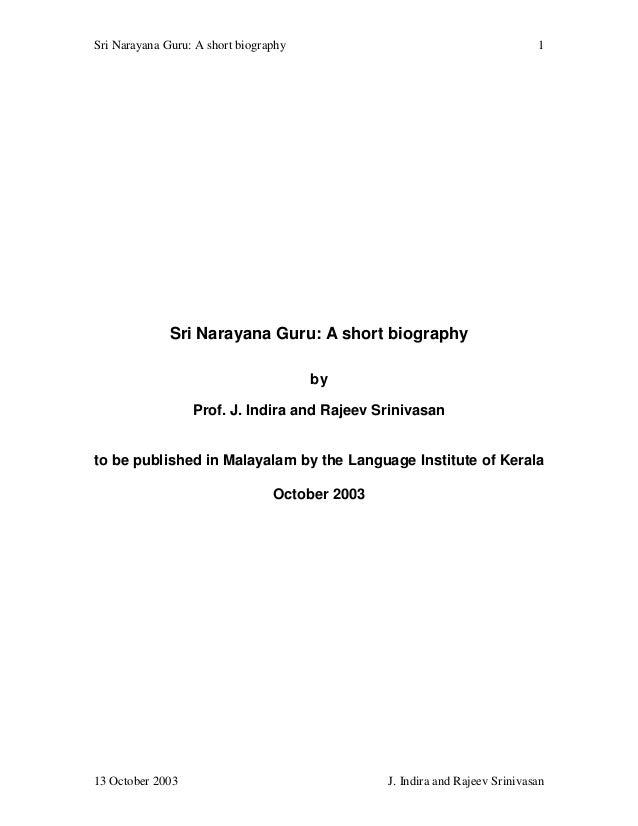 Sri Narayana Guru: A short biography                                         1              Sri Narayana Guru: A short bio...