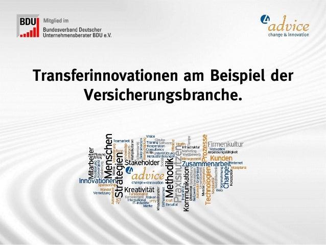 Transferinnovationen am Beispiel der       Versicherungsbranche.