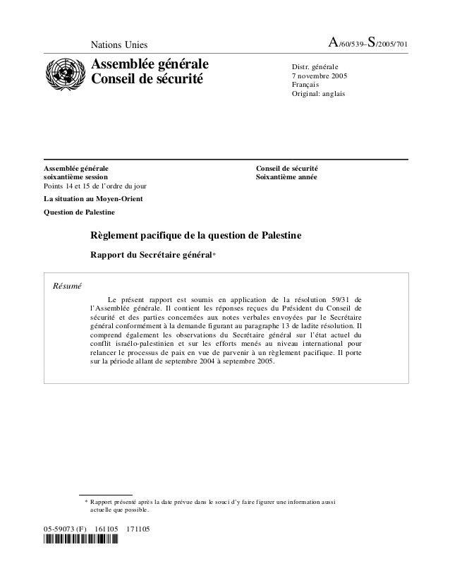 Nations Unies A/60/539–S/2005/701 Assemblée générale Conseil de sécurité Distr. générale 7 novembre 2005 Français Original...