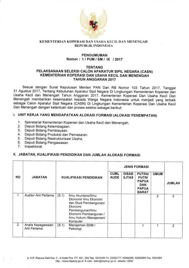 Pengumuman Seleksi CPNS Kementerian Koperasi dan Usaha ...