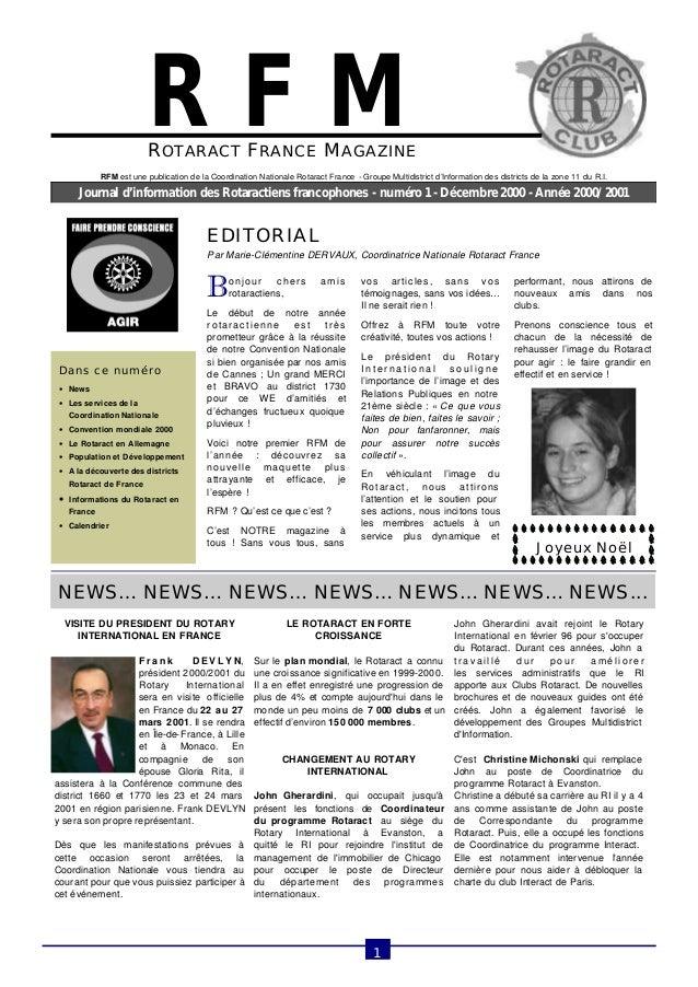 ROTARACT FRANCE MAGAZINE  Journal d'information des Rotaractiens francophones - numéro 1 - Décembre 2000 - Année 2000/2001...