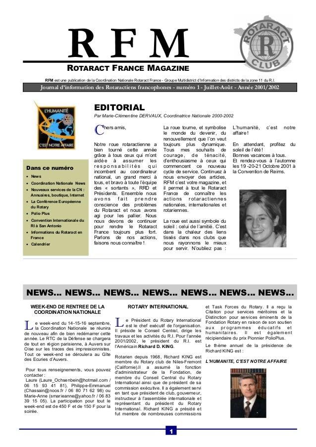 ROTARACT FRANCE MAGAZINE  Journal d'information des Rotaractiens francophones - numéro 1 - Juillet-Août - Année 2001/2002 ...