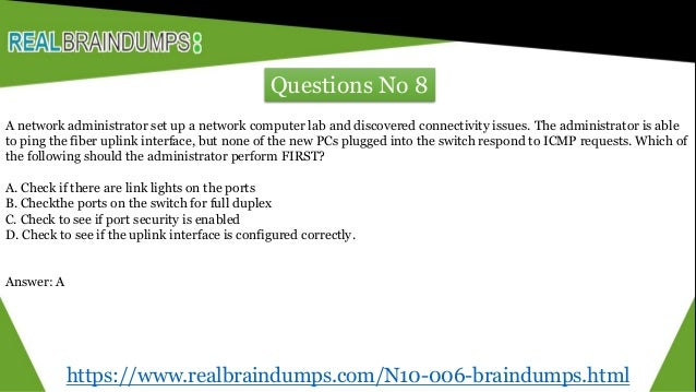 N10 006 braindumps with real exam question answers - realbraindumps