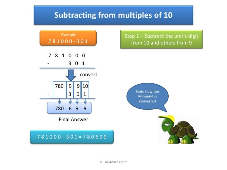 Subtracting from multiples of 10        Example                          Step 1 – Subtract the unit's digit   781000-301  ...