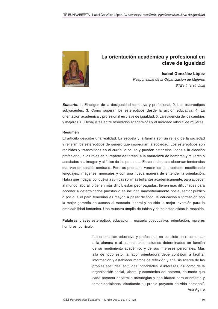 TRIBUNA ABIERTA. Isabel González López. La orientación académica y profesional en clave de igualdad                       ...