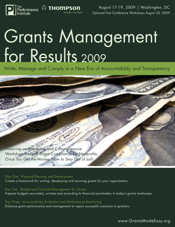 Grants Management for August 17-19, 2009 | Washington, DC                                                      Results 200...