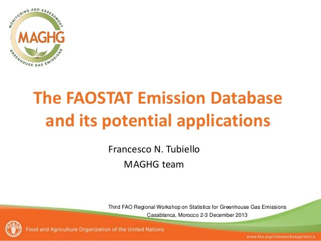 The FAOSTAT Emission Database and its potential applications Francesco N. Tubiello MAGHG team  Third FAO Regional Workshop...