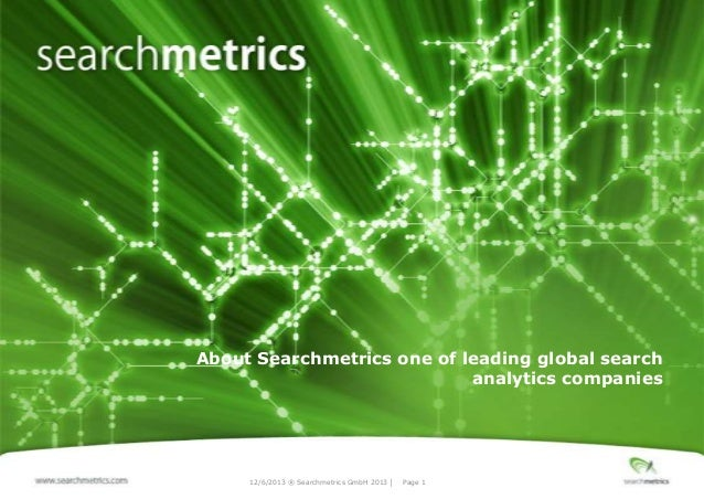 About Searchmetrics one of leading global search analytics companies  12/6/2013 ® Searchmetrics GmbH 2013 │  Page 1