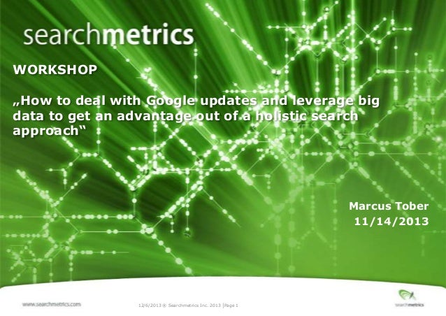 """WORKSHOP  """"How to deal with Google updates and leverage big data to get an advantage out of a holistic search approach""""  M..."""