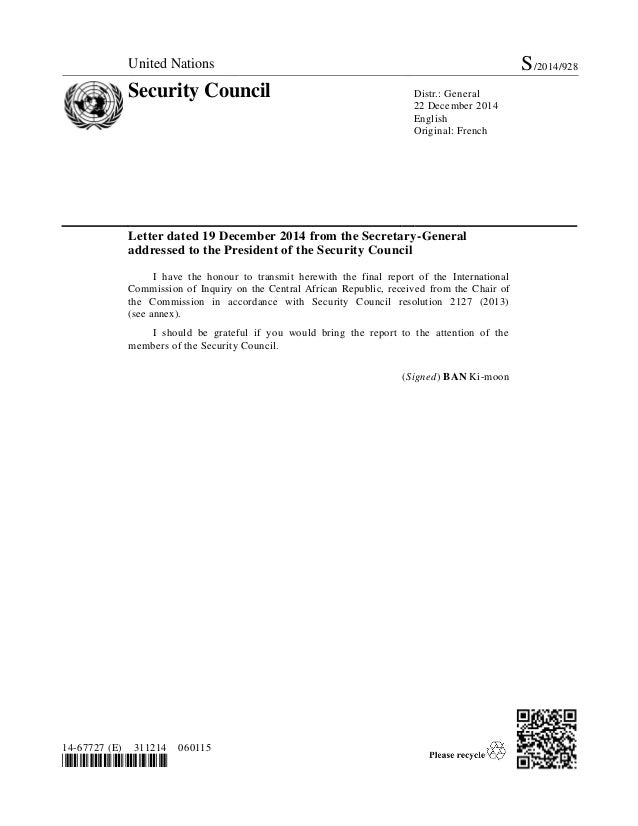 United Nations S/2014/928 Security Council Distr.: General 22 December 2014 English Original: French 14-67727 (E) 311214 0...